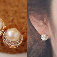 NT0058 Diamond pearl earrings