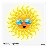 Summer Sun Cartoon with Sunglasses wall decal