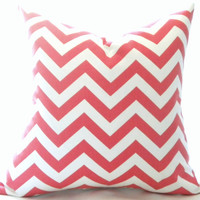 BOTH SIDES, Coral and white pillow- chevron pillow cover - toss pillow, throw pillow, cushion cover,