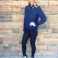 Navy Blue Drape Back Button Up Top with Rhinestone Collar