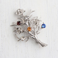 Vintage Sterling Silver Rhinestone Tree Brooch - Signed Creed Colorful Red, White, Yellow, & Blue Stone Jewelry Pin / Tree Of Life Branches