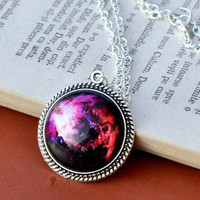 Purple Galaxy Necklace, Galaxy Pendant, Silver Plated Space Jewelry