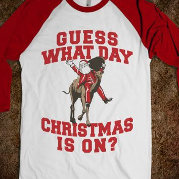 Guess What Day Christmas Is On?-Unisex White/Red T-Shirt
