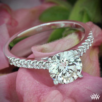"18k White Gold ""Petite Open Cathedral"" Diamond Engagement Ring"