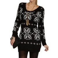 Black/Ivory Snowflake Sweater
