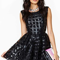 Grid Lines Faux Leather Dress