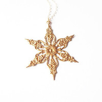 Large Gold Snowflake Necklace - Snowflake Charm Necklace Gold Snowflake Jewelry Gold Winter Necklace Gold Winter Jewelry Christmas Necklace