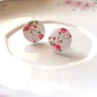 Pink Floral Stud Earrings Pink Floral Earrings Pink Rose Stud Earrings Rose Earrings Pink Flower Studs Flower Earrings Bridesmaids Earrings