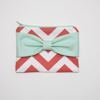 Cosmetic Case / Zipper Pouch - Coral and White Chevron Mint Bow