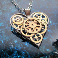 "Steampunk Heart Necklace ""Optimal"" Elegant Industrial Heart Steampunk Necklace Mechanical Love Sculpture Gershenson-Gates Gear Heart"