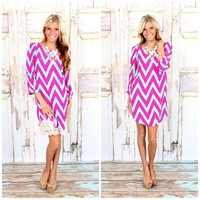 Chevron Dream Dress Fuschia - Modern Vintage Boutique