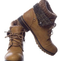 Ice Breaker Faux Leather Lace Up Sweater Cuff Boots - Tan from Refresh at Lucky 21