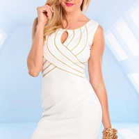White Sleeveless Bodycon Dress with Silver Trim Detail