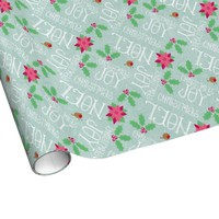 Pink Mint Green Christmas Word Art Wrapping Paper
