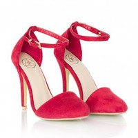 Missguided - Alexya Suede High Heels In Red