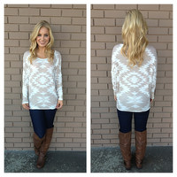 Mocha Aztec Long Sleeve Top