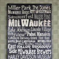 ThanksABunch - SALE - City Life - Milwaukee, WI -Unique City Art, Expressive Word Canvas wall decor, for Home, Office, Dorm,Family Room wa