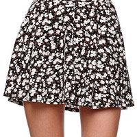 LA Hearts High Rise Gray Floral Skater Skirt at PacSun.com