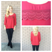 Burgundy Scallop Crochet Blouse