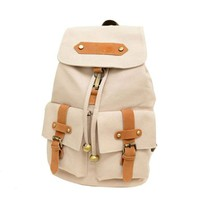 Leisure Simple Mixing Color Canvas Backpack