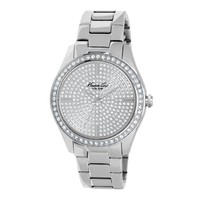 Stainless Steel Watch with Pave Crystal Dial and Bezel - Metal - Kenneth Cole