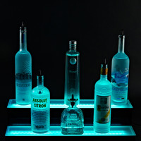 2 Tier LED Lighted Liquor Bottle Display Shelf - 8'L