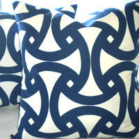 Trina Turk Navy pillow cover Santorini Blue Marine throw cover 18 x 18