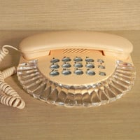 Rare Vintage Peach and Clear Lucite Art Deco / Shell Shaped Phone
