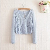 Hollow Out Tied Back Short Sweater Blue from Pop and Shop