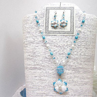 Beaded Necklace and Earrings Set Aqua Flowers