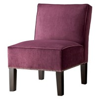 Burke Velvet Slipper Chair with Nailhead Trim