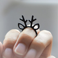 Antler Ring / choose your color/ gold,silver and black
