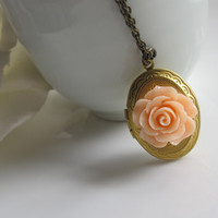 Oval Brass Locket. Shabby Chic Peach Romantic Rose Locket. Secret Compartment, hiding place, Photo/Trinket Locket Antiqued Brass Necklace.