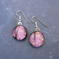 Dichroic Pink Earings, Drop Earrings, Fused Glass Jewelry, Costume Jewelry - Joselynn - 2201 -3