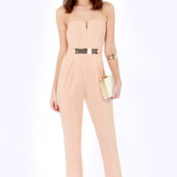 Step Up to the Plate Strapless Peach Jumpsuit