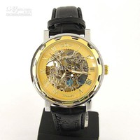 Wholesale Men Watch - Buy Luxury Mens Watch Gold Tone Skeleton Auto Leather Quartz Watch, $21.92 | DHgate