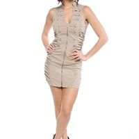 Zipper Front Military Button Dress