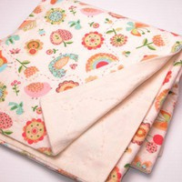 Baby Blanket in Cream with Flowers Birds Rainbows Hand Embroidered Flannel | GracefulArts - Children's on ArtFire