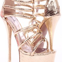 GOLD SNAKE METALLIC PRINT PU STRAPPY SKY HIGH HEELS