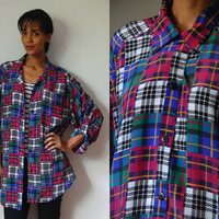 Vtg Mixed Plaids Oversize Button Up LS Shirt