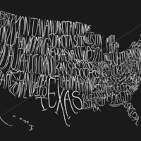 Typographic map of the US by LittleOwlDesign on Etsy