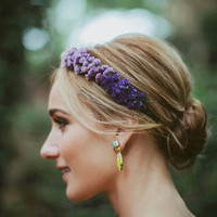 Flower crown, Bridal headpiece, Dried flowers, Purple bridal crown, Wedding hair crown, Woodland boho headband - OMBRE