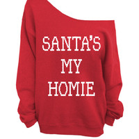 Santa's My Homie - Ugly Christmas Sweater - Red Slouchy Oversized Sweater