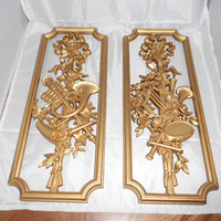 TWO VINTAGE SYROCO Wall Hangings 1964 Gold by therudicollection