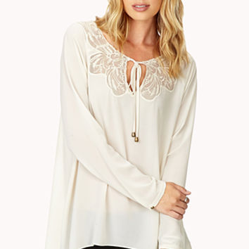 LOVE 21 Romantic Lace Blouse Cream