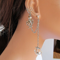 Ear Cuff With Chain And Silver Octopus and by RazzleDazzleMe