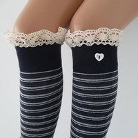 Navy Blue Stripe Socks Boot socks machine knit lace trim and button Christmas Gift
