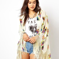 ASOS Kimono With Beaded Embellishment In Floral Print