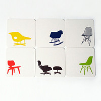 Midcentury Chair Letterpress Coasters - Set of 6