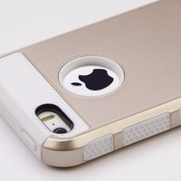 Pandamimi ULAK Fashion Sweety Girls TPU + PC 2-Piece Style Soft Hard Case Cover for iPhone 5 5S with Screen Protector (Gold & White)